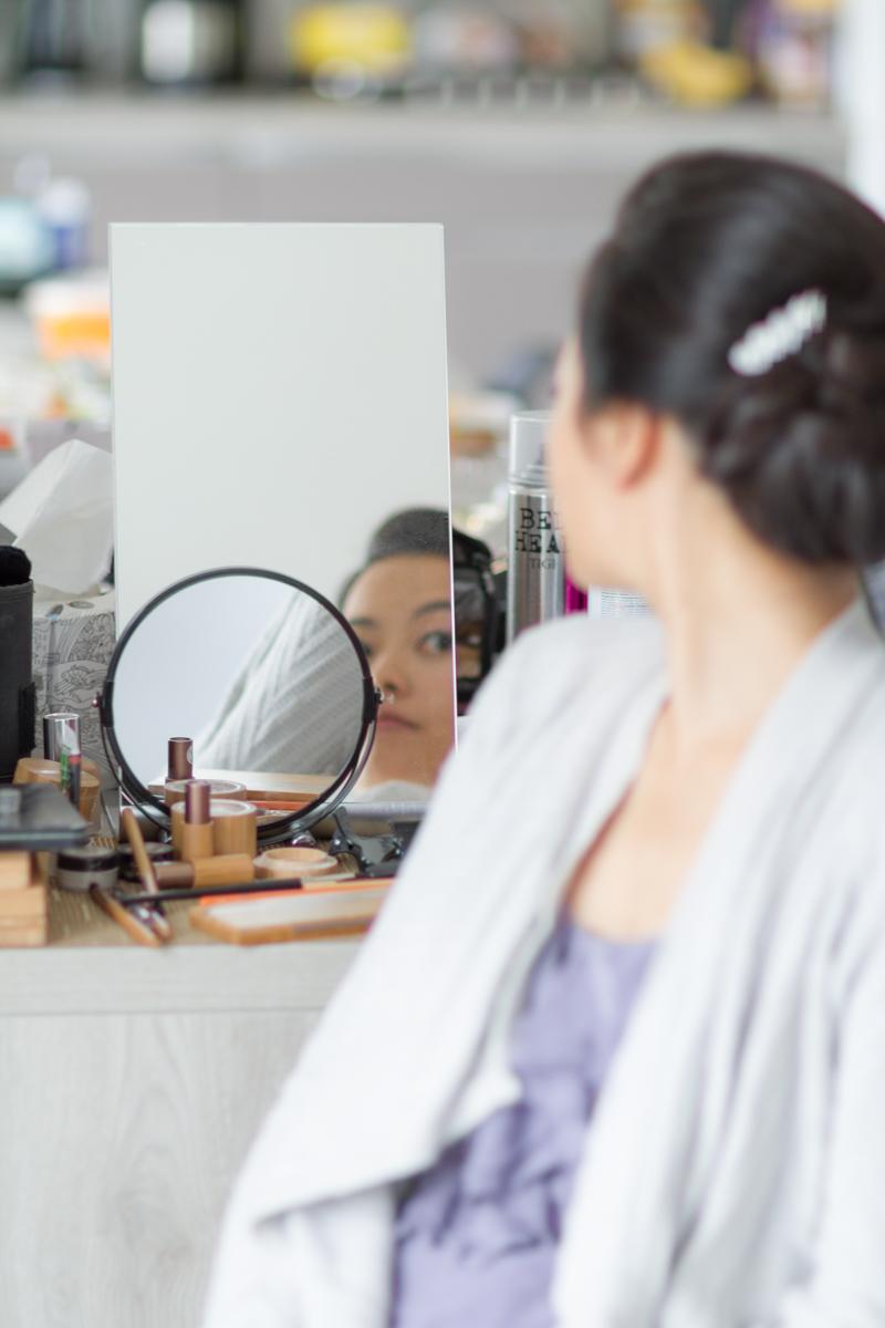 Fin de séance maquillage et coiffure